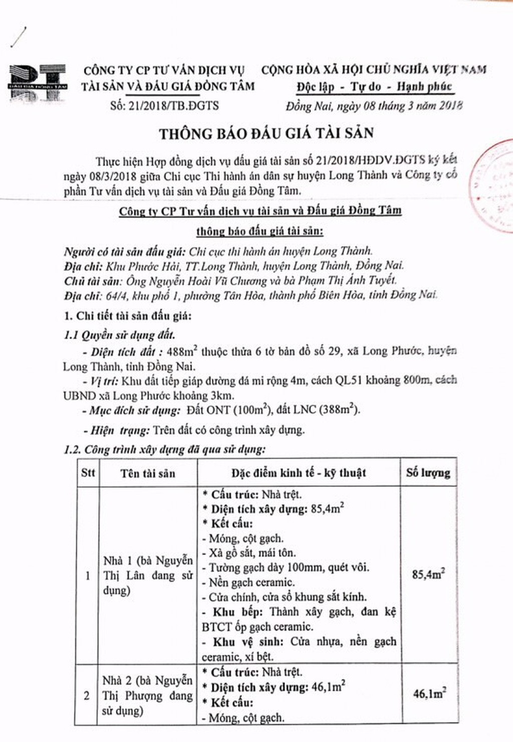 Đấu giá quyền sử dụng đất và CTXD tại huyện Long Thành, Đồng Nai - ảnh 1
