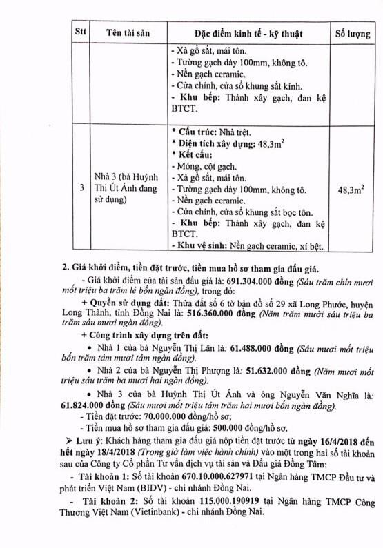 Đấu giá quyền sử dụng đất và CTXD tại huyện Long Thành, Đồng Nai - ảnh 2