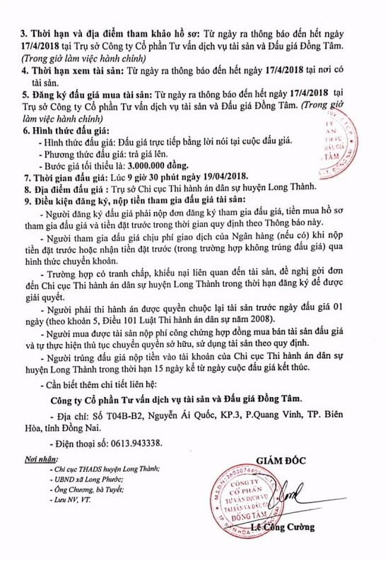 Đấu giá quyền sử dụng đất và CTXD tại huyện Long Thành, Đồng Nai - ảnh 3