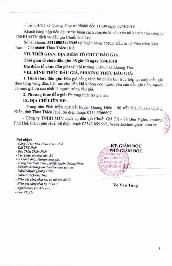 Đấu giá quyền sử dụng đất tại huyện Quảng Điền, Thừa Thiên Huế - ảnh 3
