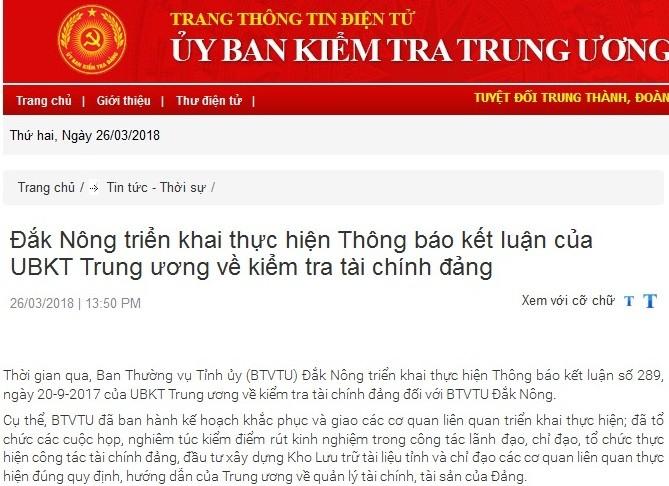 Cảnh cáo Giám đốc Sở Thông tin và Truyền thông Đắk Nông