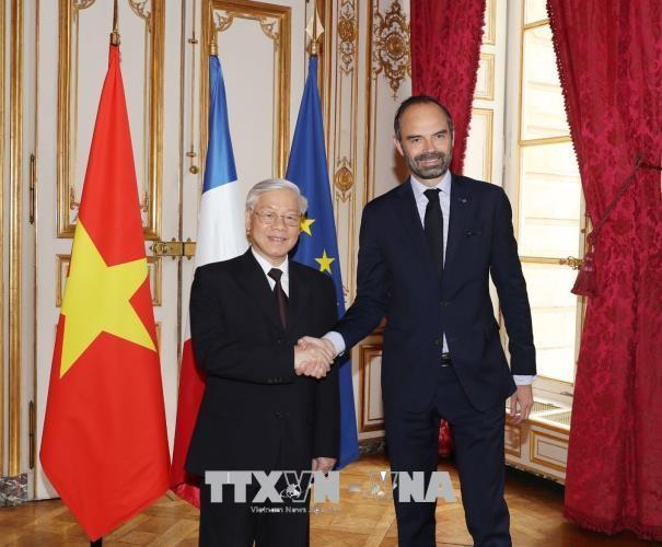 Tổng Bí thư Nguyễn Phú Trọng hội kiến Thủ tướng Pháp Édouard Philippe