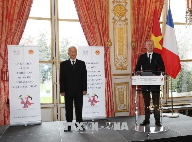 Chủ tịch Quốc hội Pháp Francois De Rugy phát biểu tại Lễ kỷ niệm.