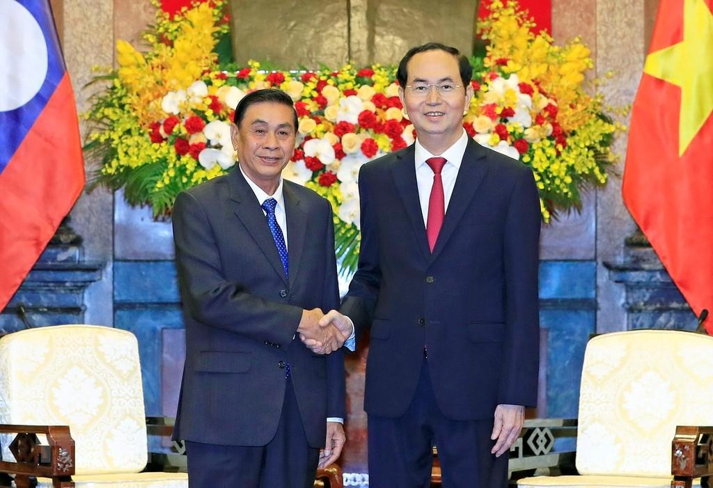 Chủ tịch nước Trần Đại Quang tiếp Chủ nhiệm Văn phòng Chủ tịch nước Cộng hòa Dân chủ Nhân dân Lào Khammeung Phongthady. Ảnh: TTXVN