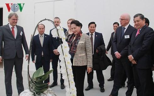 Chủ tịch Quốc hội tham quan mô hình trồng hoa tại Trung tâm Nông nghiệp công nghệ cao.