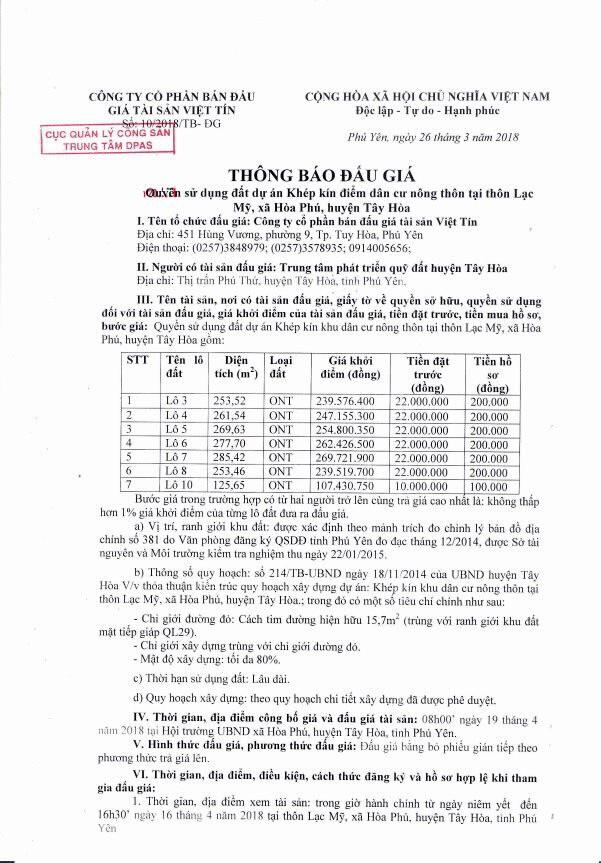 Đấu giá quyền sử dụng đất tại huyện Tây Hòa, Phú Yên - ảnh 1