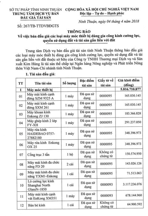 Đấu giá MMTB, quyền sử dụng đất và TSGLVĐ tại huyện Ninh Phước, Ninh Thuận - ảnh 1