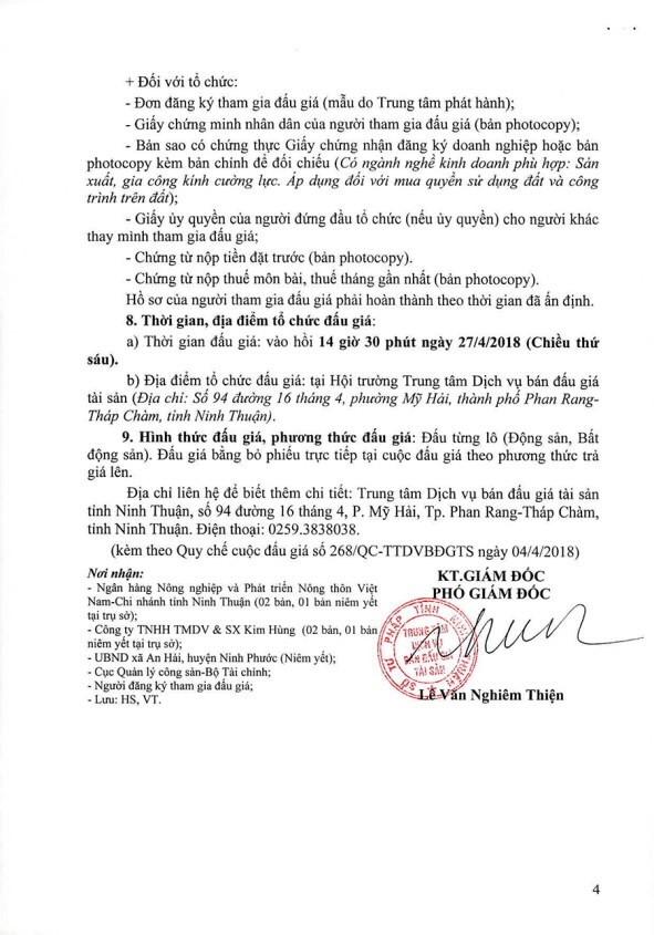 Đấu giá MMTB, quyền sử dụng đất và TSGLVĐ tại huyện Ninh Phước, Ninh Thuận - ảnh 4