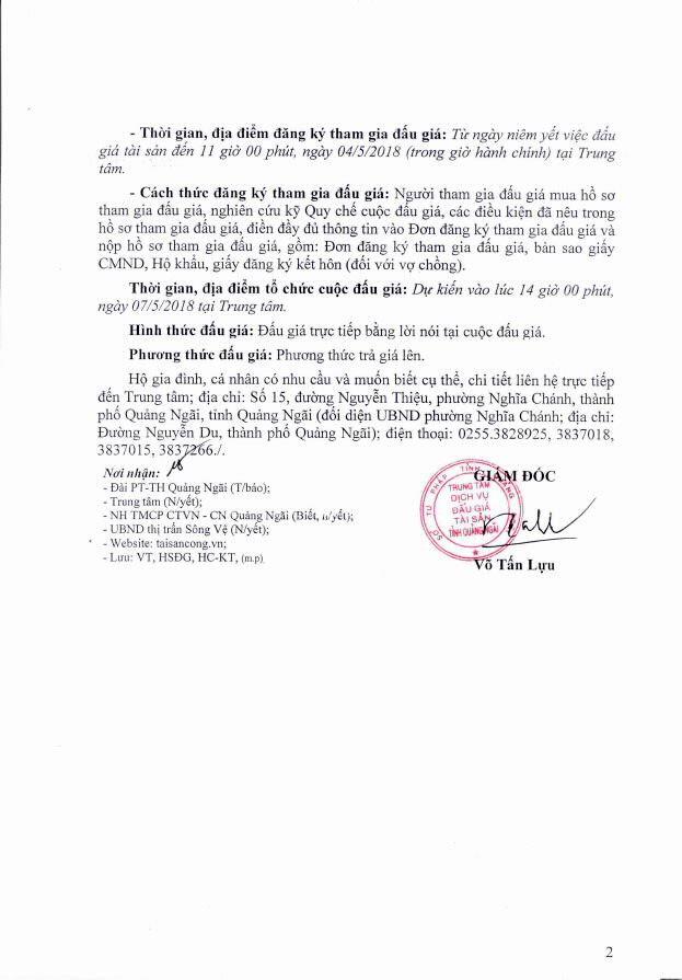 Đấu giá quyền sử dụng đất, quyền sở hữu nhà và TSKGLVĐ tại huyện Tư Nghĩa, Quảng Ngãi - ảnh 2