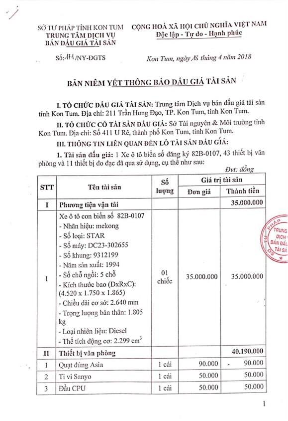 Đấu giá xe ô tô và thiết bị văn phòng tại Kon Tum - ảnh 1