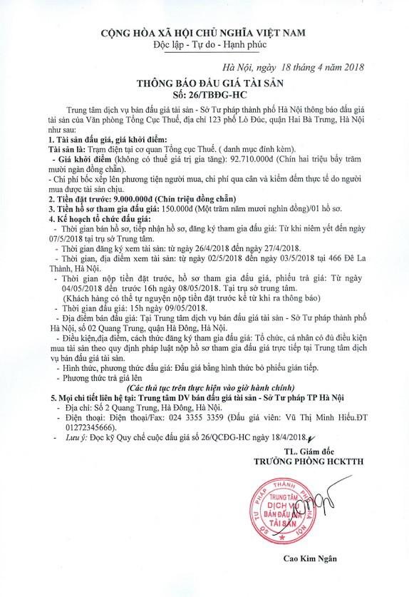 Đấu giá trạm điện tại Hà Nội - ảnh 1