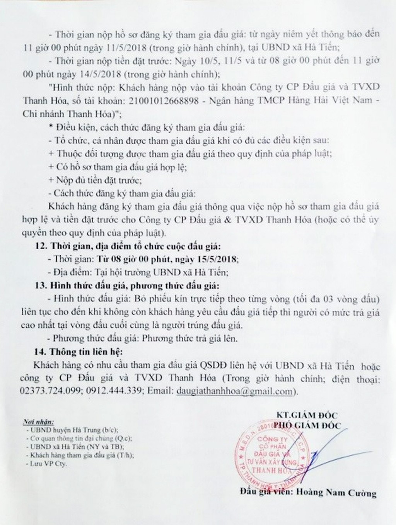 Đấu giá quyền sử dụng đất tại huyện Hà Trung, Thanh Hóa - ảnh 2