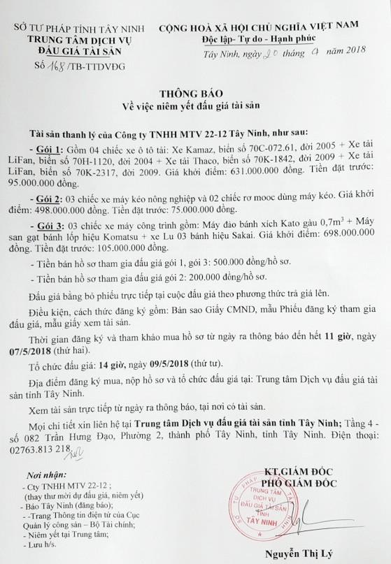 Đấu giá xe ô tô tại Tây Ninh - ảnh 1