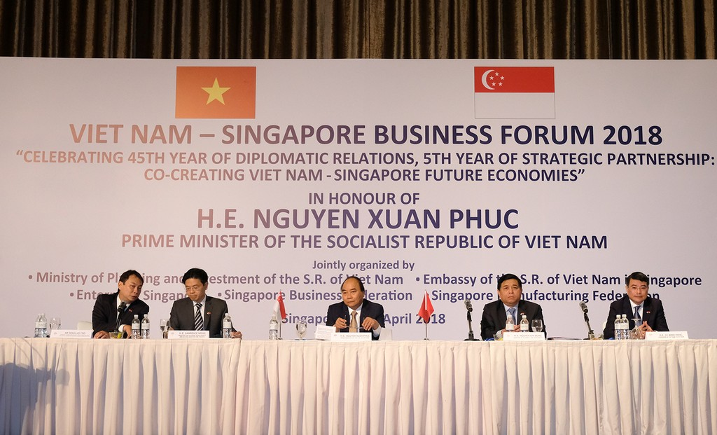 Diễn đàn Doanh nghiệp Việt Nam – Singapore. Ảnh: VGP