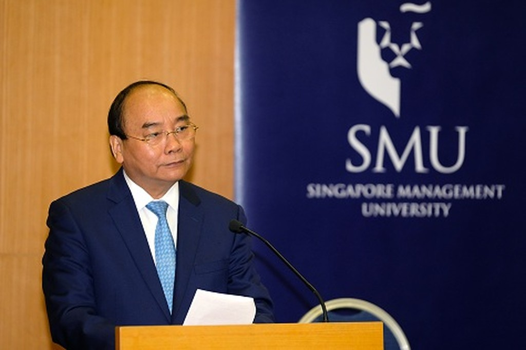 Thủ tướng Nguyễn Xuân Phúc phát biểu tại buổi gặp gỡ - Ảnh: VGP