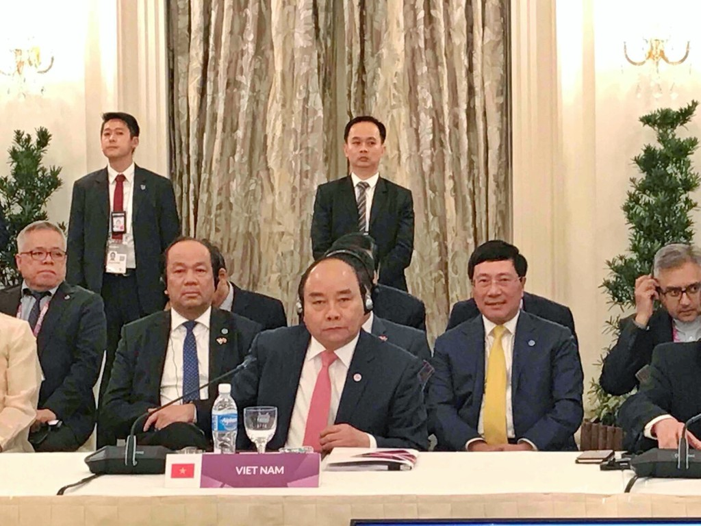 Thủ tướng Nguyễn Xuân Phúc phát biểu tại phiên toàn thể Hội nghị Cấp cao ASEAN lần thứ 32. Ảnh: BTC
