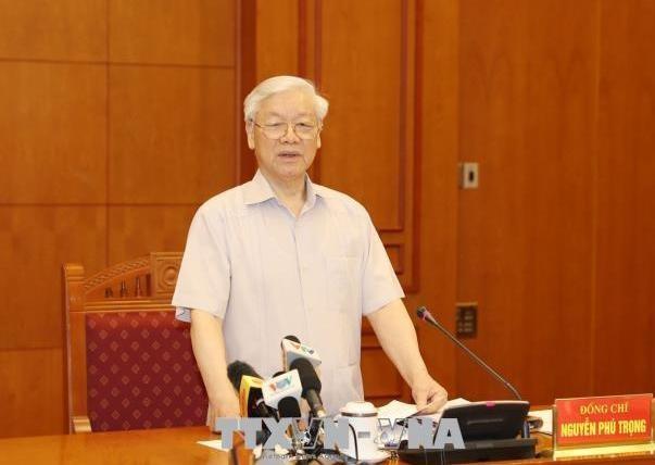 Tổng Bí thư Nguyễn Phú Trọng, Trưởng Ban Chỉ đạo Trung ương về phòng, chống tham nhũng phát biểu chỉ đạo cuộc họp. Ảnh TTXVN