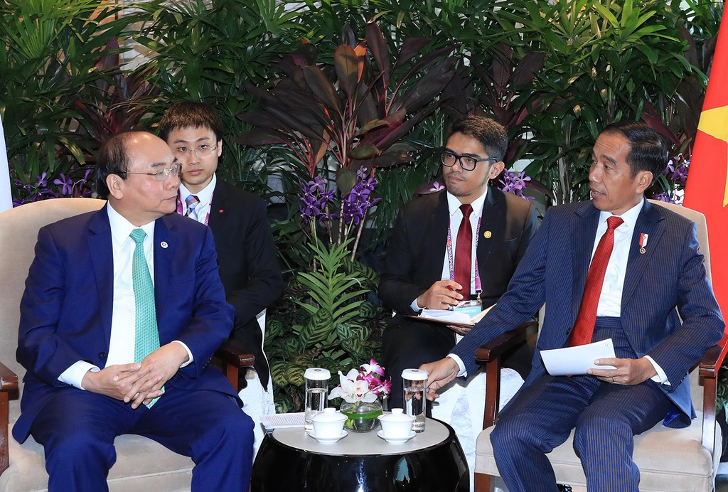 Thủ tướng Nguyễn Xuân Phúc tiếp xúc song phương Tổng thống Indonesia và Myanmar - ảnh 1