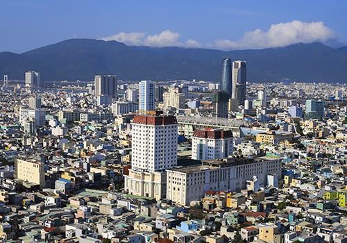 Một góc đô thị Đà Nẵng nhìn từ trên cao.
