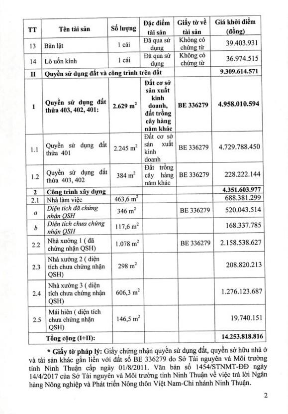 Đấu giá các loại máy móc thiết bị, QSDĐ và tài sản gắn liền với đất tại huyện Ninh Phước, Ninh Thuận - ảnh 2