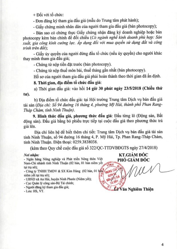 Đấu giá các loại máy móc thiết bị, QSDĐ và tài sản gắn liền với đất tại huyện Ninh Phước, Ninh Thuận - ảnh 4