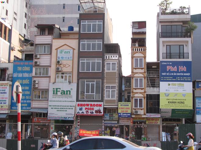 Một loạt các căn nhà có diện tích nhỏ trên phố Trường Chinh