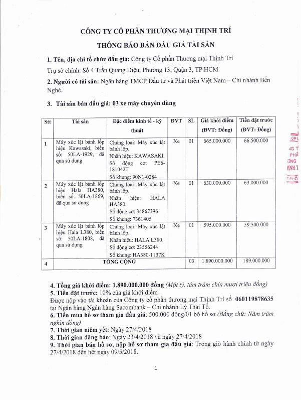 Đấu giá xe máy chuyên dùng tại TP.HCM - ảnh 1