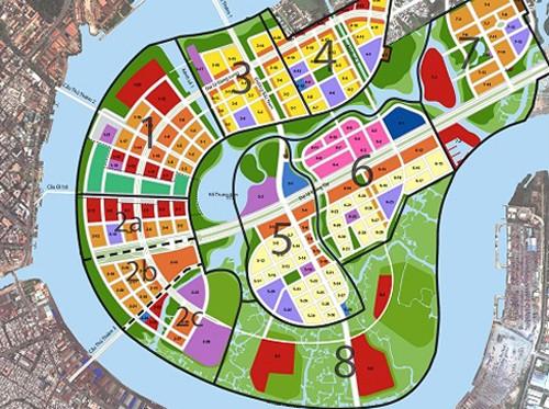 Bản đồ quy hoạch sử dụng đất năm 2011, thuộc Đồ án điều chỉnh quy hoạch cục bộ phân khu tỷ lệ 1/2.000 khu đô thị Thủ Thiêm. Ảnh: BQL KĐT Thủ Thiêm.