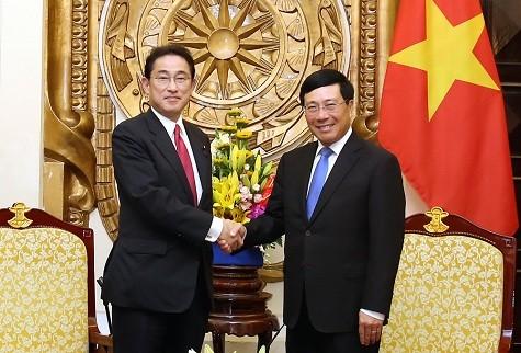 Phó Thủ tướng Phạm Bình Minh tiếp ông Fumio Kishida, Trưởng Ban Nghiên cứu chính sách đảng cầm quyền Dân chủ Tự do (LDP), Nhật Bản - Ảnh: VGP