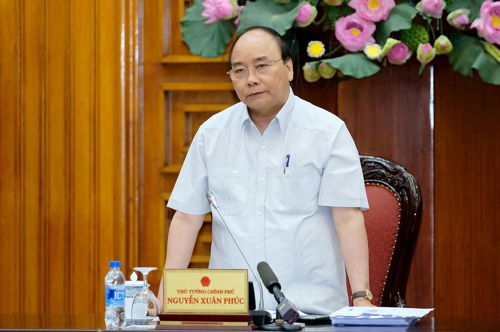 Thủ tướng Nguyễn Xuân Phúc phát biểu tại buổi cuộc làm việc. Ảnh: VGP