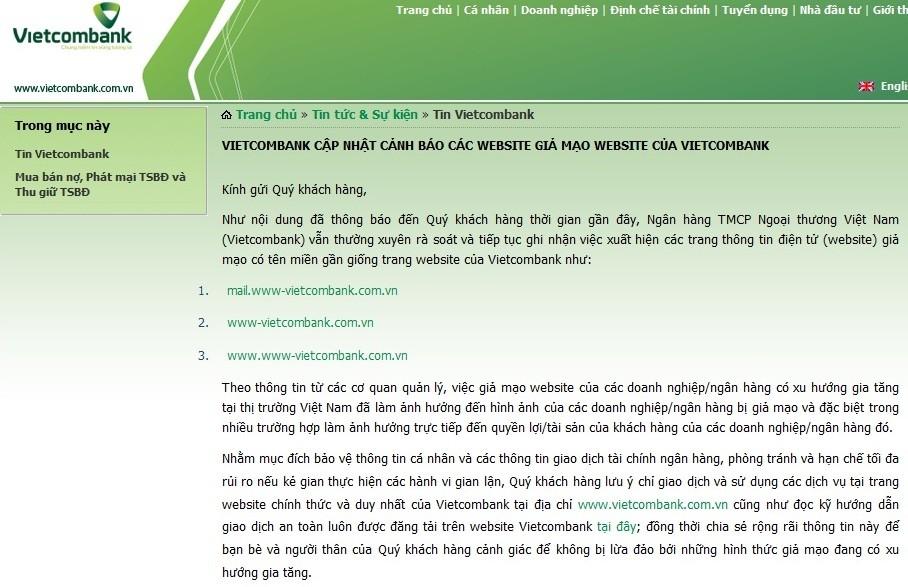 Cảnh báo website giả mạo các ngân hàng