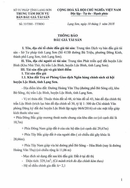Đấu giá quyền sử dụng đất tại huyện Lộc Bình, Lạng Sơn - ảnh 1