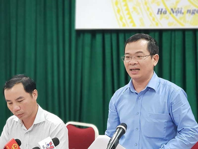 Ông Nguyễn Tân Thịnh, Phó Cục trưởng Cục Quản lý công sản (Bộ Tài chính) phát biểu tại cuộc họp báo ngày 17/5/2018. Nguồn: internet