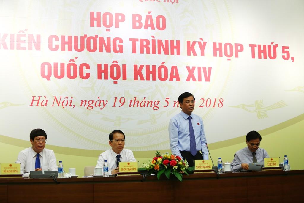 Quang cảnh buổi Họp báo về dự kiến Chương trình kỳ họp thứ 5. Ảnh: Lê Tiên