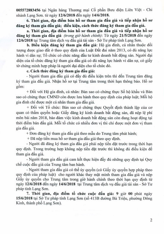 Đấu giá quyền sử dụng đất và TSGLVĐ tại thành phố Lạng Sơn, Lạng Sơn - ảnh 2