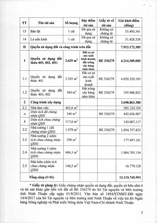 Đấu giá quyền sử dụng đất, các loại MMTB dùng gia công kính cường lực và TSKGLVĐ tại huyện Ninh Phước, Ninh Thuận - ảnh 2