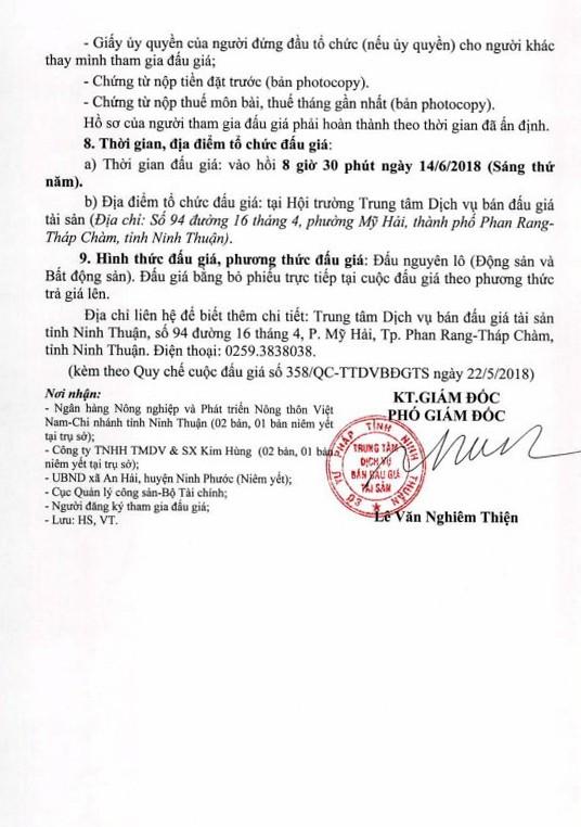 Đấu giá quyền sử dụng đất, các loại MMTB dùng gia công kính cường lực và TSKGLVĐ tại huyện Ninh Phước, Ninh Thuận - ảnh 4
