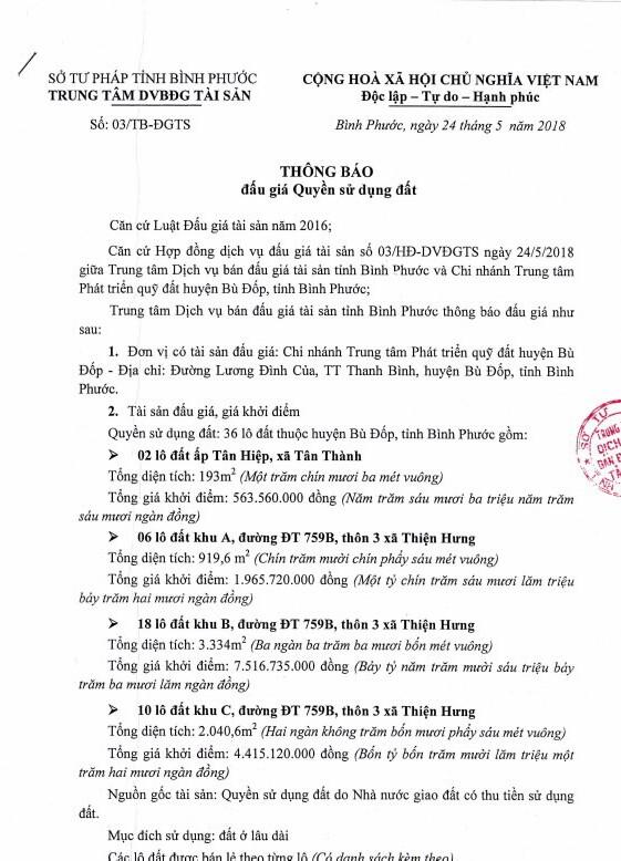 Đấu giá quyền sử dụng đất tại huyện Bù Đốp, Bình Phước - ảnh 1