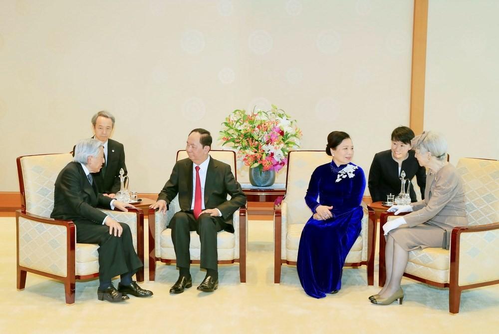 Chủ tịch nước Trần Đại Quang và Phu nhân hội kiến Nhà vua Akihito và Hoàng hậu. Ảnh: Vietnamplus