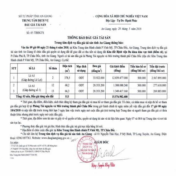Đấu giá quyền sử dụng đất tại thành phố Châu Đốc, An Giang - ảnh 1