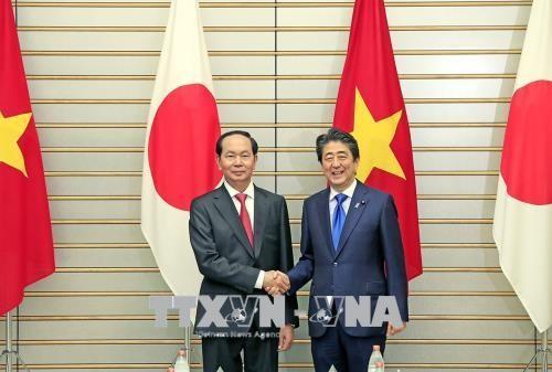 Chủ tịch nước Trần Đại Quang hội đàm với Thủ tướng Shinzo Abe. Ảnh: TTXVN