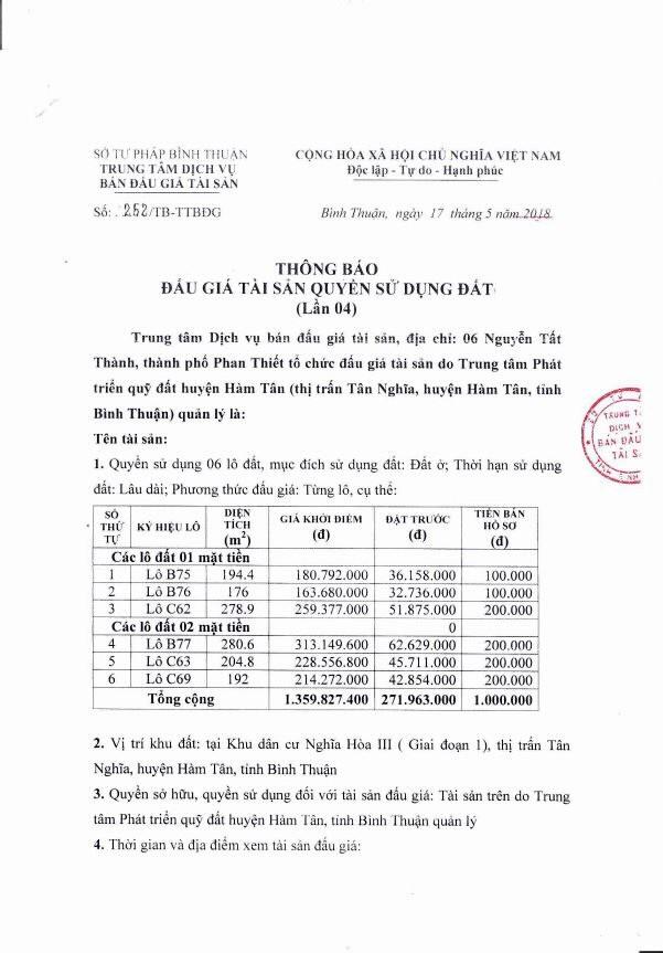 Đấu giá quyền sử dụng đất tại huyện Hàm Tân, Bình Thuận - ảnh 1