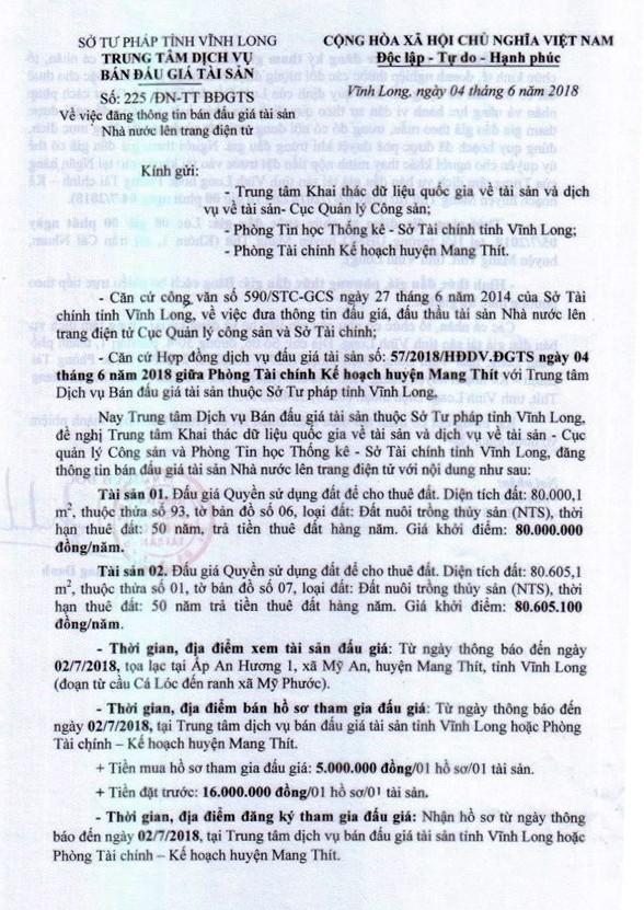 Đấu giá quyền sử dụng đất tại huyện Mang Thít, Vĩnh Long - ảnh 1
