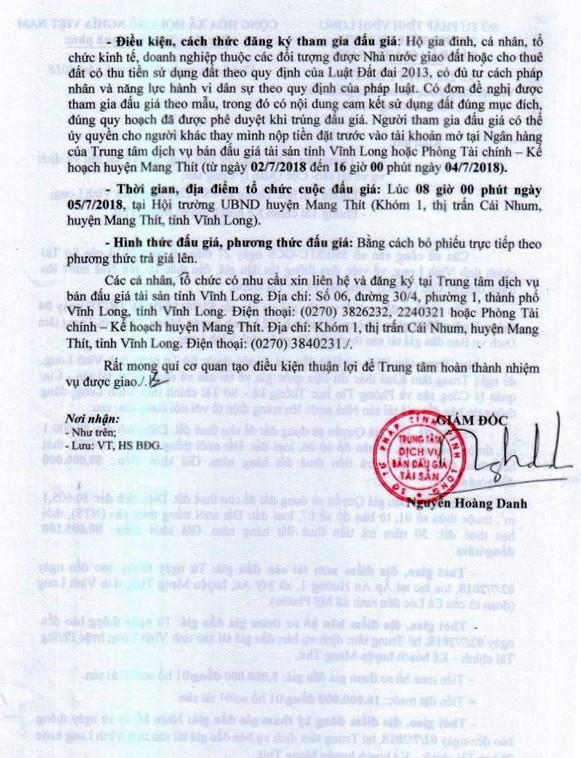 Đấu giá quyền sử dụng đất tại huyện Mang Thít, Vĩnh Long - ảnh 2