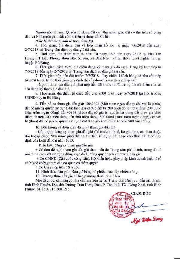 Đấu giá quyền sử dụng đất tại huyện Bù Đăng, Bình Phước - ảnh 2