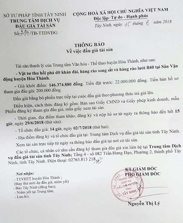 Đấu giá vật tư thu hồi phá dỡ tại Sân vận động huyện Hòa Thành (Tây Ninh) - ảnh 1