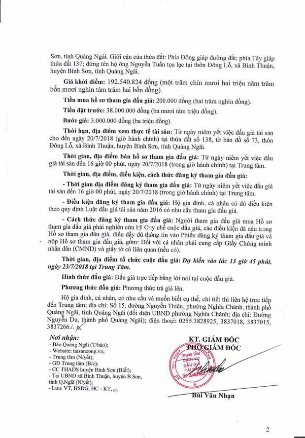 Đấu giá quyền sử dụng đất và TSGLVĐ tại huyện Bình Sơn, Quảng Ngãi - ảnh 2