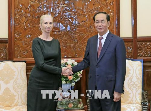 Chủ tịch nước Trần Đại Quang tiếp Đại sứ Vương quốc Na Uy. Ảnh: TTXVN