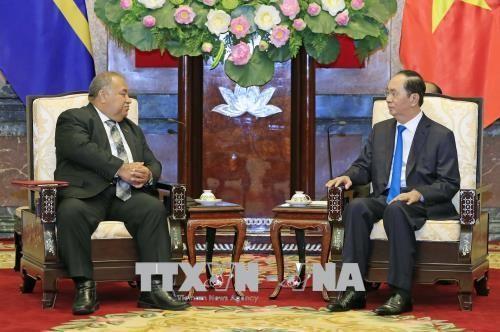 Chủ tịch nước Trần Đại Quang tiếp Tổng thống Cộng hòa Nauru. Ảnh: TTXVN