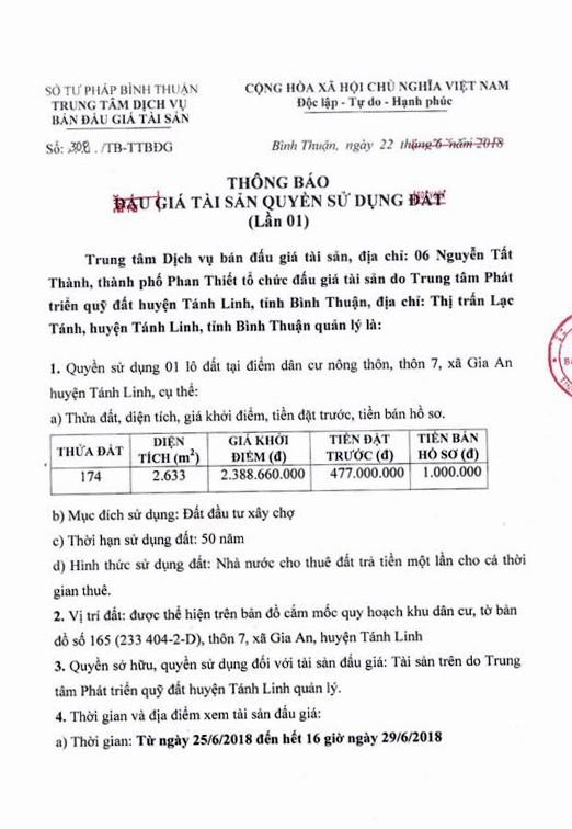 Đấu giá quyền sử dụng đất tại huyện Tánh Linh, Bình Thuận - ảnh 1